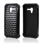 Black Hard Cover w/ Bling Over Black Silicone Skin Case for Motorola Moto X