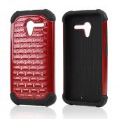 Red Hard Cover w/ Bling Over Black Silicone Skin Case for Motorola Moto X