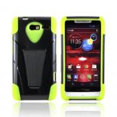 Motorola Droid RAZR M Hard Case Over Silicone w/ Stand - Neon Green/ Black