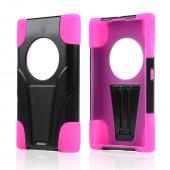 Black Hard Case w/ Kickstand on Hot Pink Silicone Skin Case for Nokia Lumia 1020