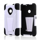 White Hard Cover w/ Kickstand Over Black Silicone Skin Case for Nokia Lumia 521