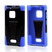 Black Hard Case w/ Kickstand on Blue Silicone Skin Case for Nokia Lumia 928