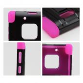 Black Hard Case w/ Kickstand on Hot Pink Silicone Skin Case for Nokia Lumia 928
