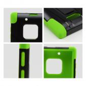 Black Hard Case w/ Kickstand on Lime Green Silicone Skin Case for Nokia Lumia 928