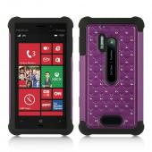 Purple Hard Cover w/ Bling Over Black Silicone for Nokia Lumia 928