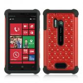 Red Hard Cover w/ Bling Over Black Silicone for Nokia Lumia 928