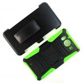 Microsoft Lumia 950 Holster Case, [Neon Green] Supreme Protection Plastic on Silicone Dual Layer Hybrid Case