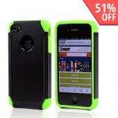 AT&T/ Verizon Apple iPhone 4, iPhone 4S Textured Hybrid Hard Cover Over Silicone Case - Black/ Neon Green