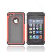 AT&T/ Verizon Apple iPhone 4, iPhone 4S Textured Hybrid Hard Cover Over Silicone Case - Red/ Black