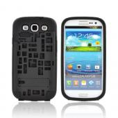 Samsung Galaxy S3 Hard Case Over Silicone w/ Kickstand & ID Slot - Black Digital Cube Design