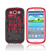 Samsung Galaxy S3 Hard Case Over Silicone w/ Kickstand & ID Slot - Red/ Black Digital Cube Design