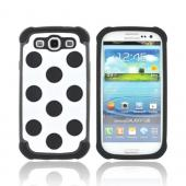 Samsung Galaxy S3 Hard Case Over Silicone Case - Black/ White Polka Dots