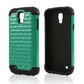 Aqua Hard Cover w/ Bling Over Black Silicone Skin Case for Samsung Galaxy S4 Active
