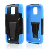 Black Hard Shell w/ Kickstand on Blue Silicone Skin Case for Samsung Galaxy S4 Active