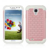 Baby Pink Hard Cover w/ Bling Over White Silicone for Samsung Galaxy S4