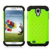 Lime Green Hard Cover w/ Bling Over Black Silicone Skin for Samsung Galaxy S4