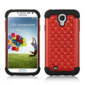 Red Hard Cover w/ Bling Over Black Silicone for Samsung Galaxy S4