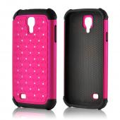 Rose Pink Hard Cover w/ Bling Over Black Silicone for Samsung Galaxy S4