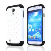 White Hard Cover w/ Bling Over White Silicone for Samsung Galaxy S4