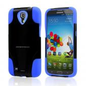 Black Hard Case w/ Kickstand on Blue Silicone Skin Case for Samsung Galaxy Mega 6.3