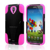 Black Hard Case w/ Kickstand on Hot Pink Silicone Skin Case for Samsung Galaxy Mega 6.3