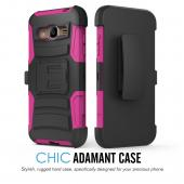 Samsung Galaxy J3 Case, [Hot Pink] Heavy Duty Dual Layer Hybrid Holster Case with Kickstand and Locking Belt Swivel Clip