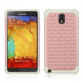 Baby Pink Hard Cover W/ Bling Over White Silicone Skin Case for Samsung Galaxy Note 3