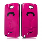 Hot Pink/ Black Car Hybrid Case w/ Raised Look for Samsung Galaxy Note 2
