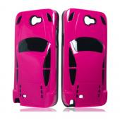 Hot Pink/ Black Sports Car Hybrid Case w/ 3D Features for Samsung Galaxy Note 2