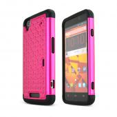 Hot Pink ZTE Max Hard Cover w/ Bling Over Black Silicone Skin Case