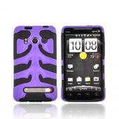 HTC EVO 4G Hard Rubberized Fish Bone on Silicone Case - Purple on Black