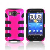 HTC Inspire 4G Hard Rubberized Fishbone on Silicone Case - Hot Pink on Black