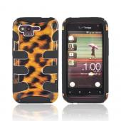 HTC Rhyme Hard Fishbone on Silicone Case - Brown Leopard/ Black
