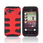 HTC Rhyme Rubberized Hard Fishbone on Silicone Case - Red/ Black