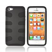 Apple iPhone 5/5S Rubberized Hard Fishbone on Silicone Case - Black