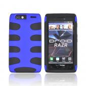 Motorola Droid RAZR Rubberized Hard Fishbone on Silicone Case - Blue/ Black