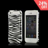 White/ Black Zebra Hard Cover on Silicone Case for Apple iPhone 5/5S