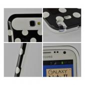 Black/ White Polka Dots Hard Cover on White Silicone Case for Samsung Galaxy Note 2