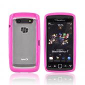 Blackberry Torch 9860, 9850 Hard Back w/ Gummy Silicone Border -Hot Pink/ Frost White