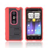 Premium HTC EVO 3D Hard Back w/ Stand & Gummy Crystal Silicone Lining - Red/ Black
