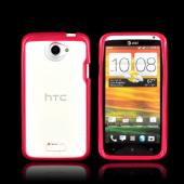 HTC One X Hard Back Case w/ Gummy Silicone Lining - Clear/ Pink
