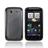 HTC Sensation 4G Hard Case w/ Gummy Silicone Border - Black/ Frost White