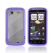 HTC Sensation 4G Hard Case w/ Gummy Silicone Border - Purple/ Frost White