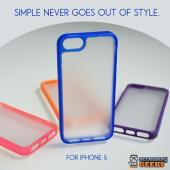 Apple iPhone 5/5S Hard Case w/ Gummy Silicone Border - Blue/ Frost White