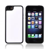 Apple iPhone 5/5S Hard Back w/ Gummy Silicone Border - White/ Black