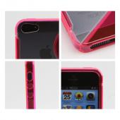 Apple iPhone 5 Hard Back w/ Crystal Silicone Lining & Kickstand - Hot Pink/ Frost White