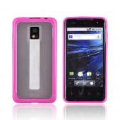 T-Mobile G2X Hard Back Case w/ Gummy Crystal Silicone Lining - Hot Pink/ Frost White