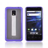 T-Mobile G2X Hard Back Case w/ Gummy Crystal Silicone Lining - Purple/ Frost White