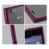 Purple/ Frost White Hard Case w/ Gummy Silicone Border for LG Intuition VS950