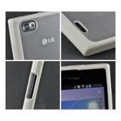 White/ Frost White Hard Case w/ Gummy Silicone Border for LG Intuition VS950